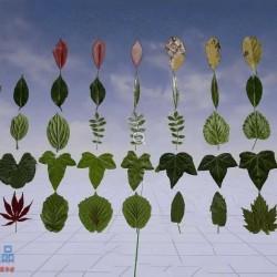 真实感纹理不同形状种类完整程度树叶UE4游戏素材资源