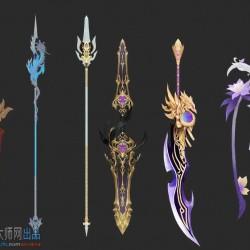 高质量仙侠武侠武器-大剑-长枪