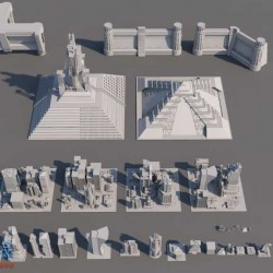 免费-C4D模型套装-现代科幻建筑创意场景