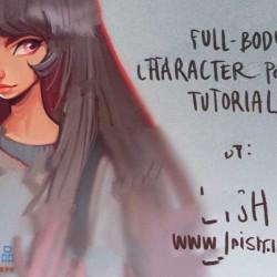 长发卡通女孩草图到全身像详细数字绘画视频教程