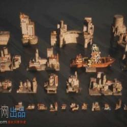 废墟工厂荒芜之地场景3D模型