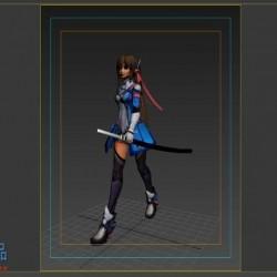 日本女武士动作模型